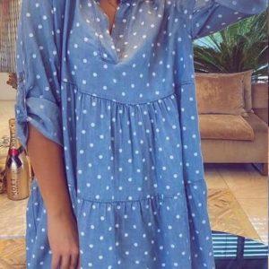 Заказать женское летнее джинсовое платье в горошек (размер 42-58) голубое недорого