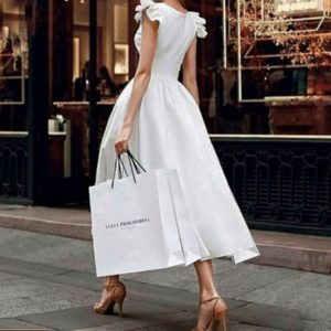 Купить женское белое платье миди из хлопка с пышной юбкой (размер 42-48) недорого