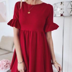 Купить красное женское базовое платье с воланами из костюмки дешево