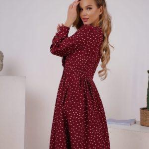 Купить бордовое женское платье в горошек на запах с пуговицами (размер 42-48) дешево