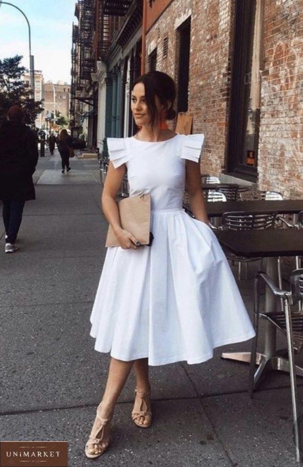 Приобрести женское белое платье миди из хлопка с пышной юбкой (размер 42-48) выгодно