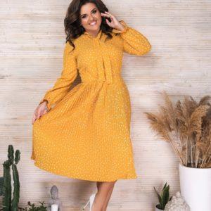 Приобрести желтое женское плиссированное платье в горошек с длинным рукавом (размер 42-56) в Украине