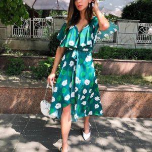 Приобрести женское зеленое платье с цветочным принтом недорого