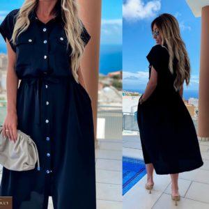 Приобрести синий женское платье-рубашка из софт-шелка на кнопках недорого