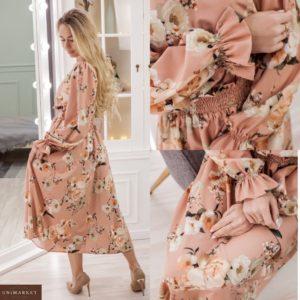 Заказать онлайн пудра женское нежное платье миди с длинным рукавом (размер 42-52) недорого