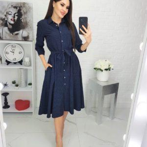 Заказать синее женское платье в горошек с карманами (размер 42-48) по низким ценам