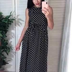 Заказать черное женское платье миди без рукавов в горошек недорого