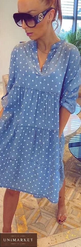 Приобрести на подарок женское летнее джинсовое платье в горошек (размер 42-58) голубое