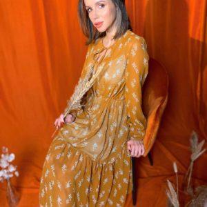 Приобрести горчичное женское нежное платье-двойка в Украине