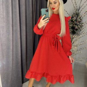 Купить онлайн красное женское платье в горошек с длинным рукавом и воланами (размер 42-60) в инетрнет-магазине