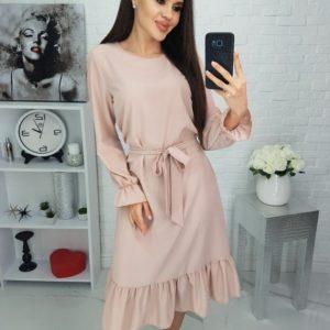 Заказать бежевое женское принтованное платье с длинным рукавом (размер 42-48) недорого
