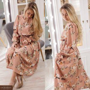 Купить розовое женское нежное платье миди с длинным рукавом (размер 42-52) по скидке