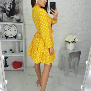 Купить желтое женское платье в крупный горох с завязкой у шеи (размер 42-48) недорого