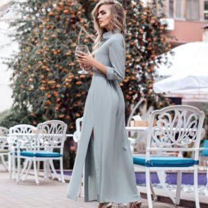 Приобрести голубое женское длинное платье из штапеля с поясом и разрезами по бокам дешево
