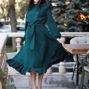 Приобрести бутылка женское платье в горошек с длинным рукавом и воланами (размер 42-60) по скидке