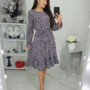 Заказать черное женское принтованное платье с длинным рукавом (размер 42-48) дешево