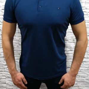 Заказать синюю мужскую базовую футболку поло из хлопка (размер 46-54) в Украине