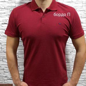 Купить бордовую мужскую базовую футболку поло из хлопка (размер 46-54) недорого