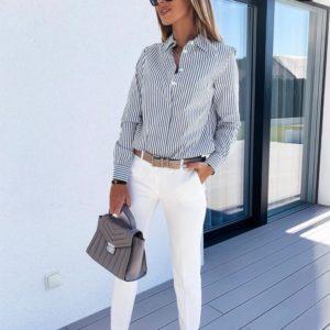 Купить женскую хлопковую рубашку в серо-белую полоску в Украине