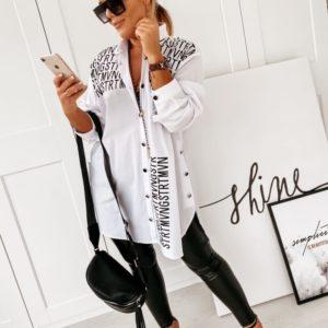 Придбати жіночу білу сорочку-туніку з запахом на спині (розмір 42-56) по знижці