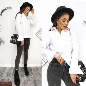 Придбати жіночу білу сорочку з бавовни з розкльошені рукавами (розмір 42-52) в Україні