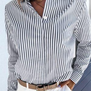 Заказать женскую хлопковую рубашку в серо-белую полоску по низким ценам