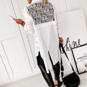 Заказать женскую белую рубашку-тунику с запахом на спине (размер 42-56) по низким ценам
