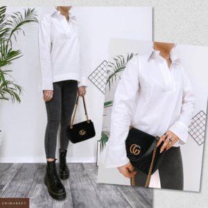 Замовити жіночу білу сорочку з бавовни з розкльошені рукавами (розмір 42-52) за низькими цінами