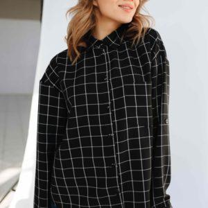 Заказать черную женскую рубашку в тонкую клетку со спущенной линией плеча (размер 46-52) по низким ценам