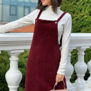 Купить бордовый женский вельветовый сарафан на бретельках с карманом (размер 42-56) недорого