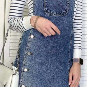 Купить онлайн женский синий джинсовый сарафан на заклепках (размер 42-48) недорого