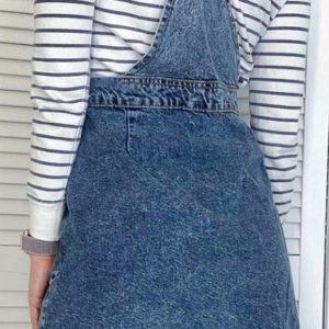 Приобрести женский синий джинсовый сарафан на заклепках (размер 42-48) дешево