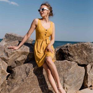 Заказать желтый женский легкий сарафан в горошек из натурального льна выгодно