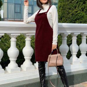 Заказать бордовый женский вельветовый сарафан на бретельках с карманом (размер 42-56) по скидке