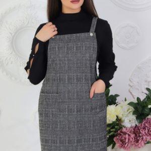 Заказать серый женский шерстяной сарафан на трикотажной основе (размер 42-56) недорого