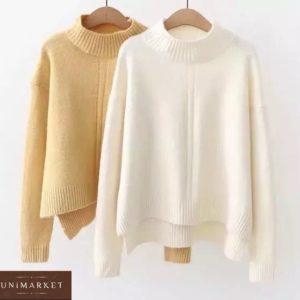 Заказать желтый, белый женский короткий свитер с воротником-стойкой в Украине