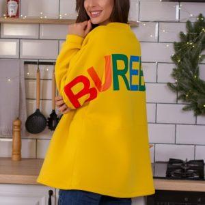 Приобрести желтый женский удлиненный свитшот на флисе с надписью на спине выгодно