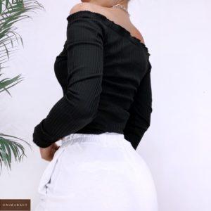 Приобрести женский черный трикотажый топ в рубчик с открытыми плечами (размер 42-48) в Украине