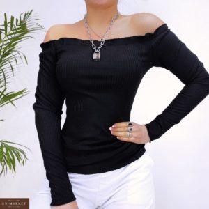 Купить онлайн женский черный трикотажый топ в рубчик с открытыми плечами (размер 42-48) дешево