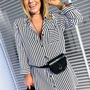 Заказать женскую полосатую тунику-рубашку с карманом (размер 42-60) черно-белая в Украине