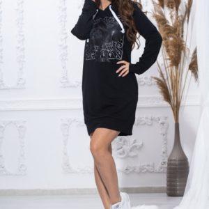 Заказать черную женскую тунику-худи с принтом (размер 44-54) в Украине