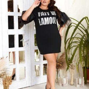 Купить онлайн дешево женскую черную тунику с рукавами из сетки и эко кожи (размер 42-60)