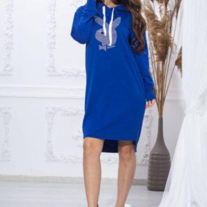 Купить синюю женскую длинную спортивную тунику с эмблемой Playboy (размер 44-54) выгодно