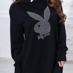 Заказать черную женскую длинную спортивную тунику с эмблемой Playboy (размер 44-54) онлайн дешево