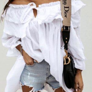 Заказать белую женскую тунику с воланами с открытыми плечами (размер 42-52) по выгодным ценам