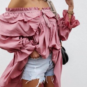 Приобрести розовую женскую тунику с воланами с открытыми плечами (размер 42-52) недорого