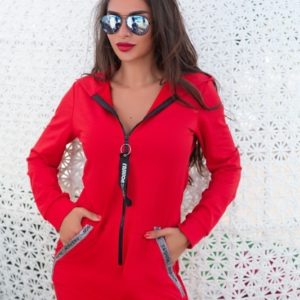 Заказать красную женскую спортивную тунику с капюшоном на змейке (размер 44-54) в Харькове, Львове