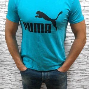 Заказать онлайн голубую мужскую футболку Puma с круглым вырезом (размер 46-54) недорого