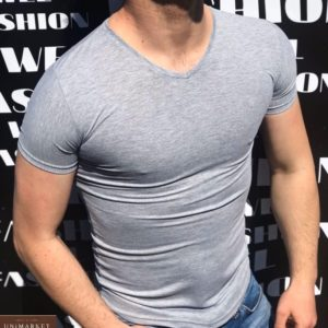 Заказать серую мужскую базовую футболку с V-образным вырезом (размер 46-52) по низким ценам