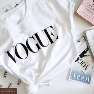 Купить белую женскую футболку из хлопка с надписью Vogue недорого
